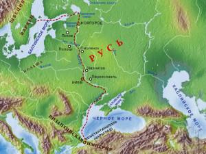 Карта пути из варяг в греки