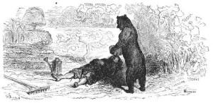 Иллюстрация к басне «Пустынник и медведь»